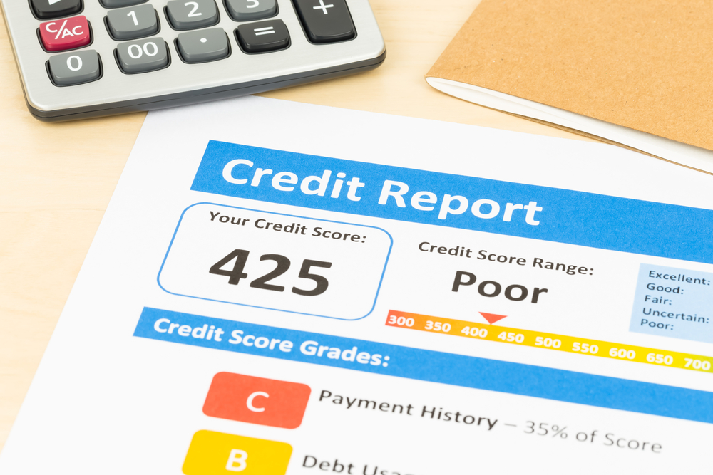 Copy of credit report with poor credit score.